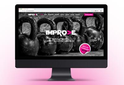 website van een sportschool met dumbells